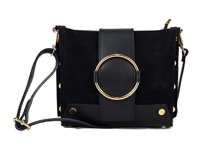 de mujer espalda negro bolso cuero piel Bolso de bolso bandolera xgqwXvvd