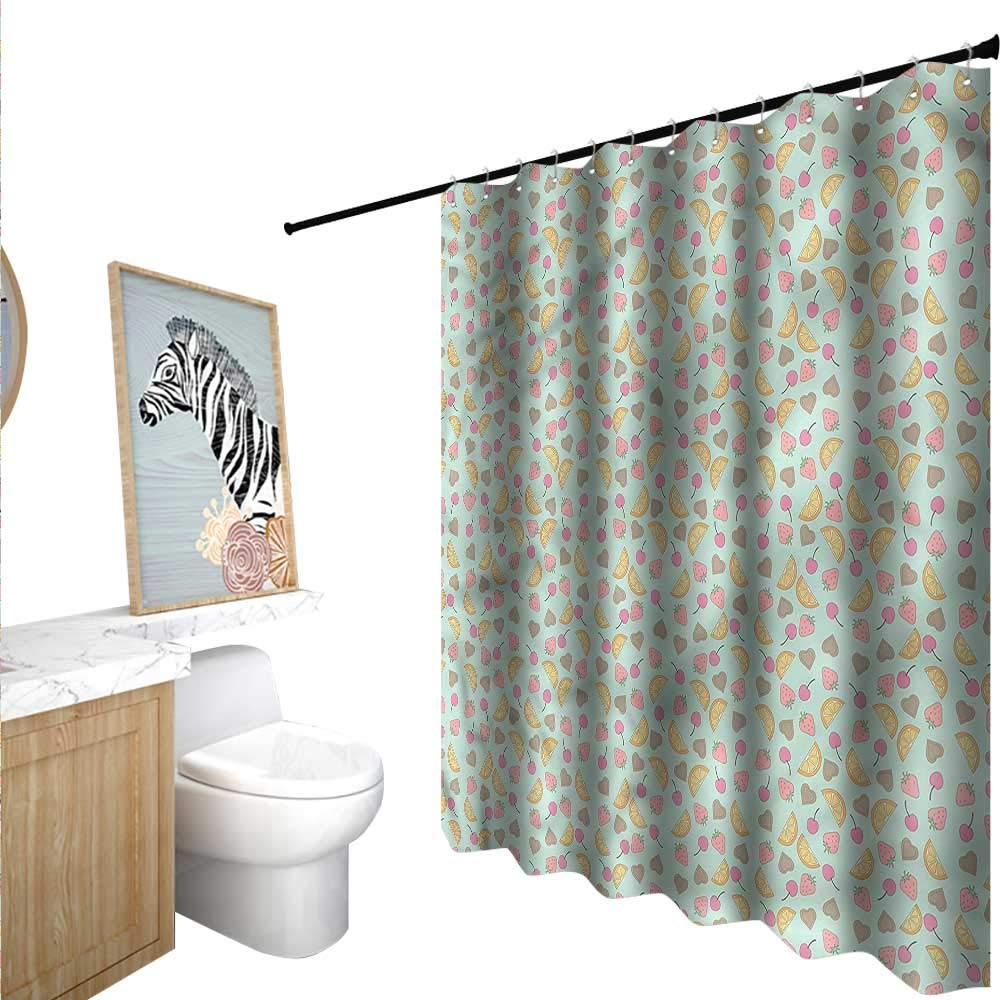 "BlountDecor Colorful Shower Curtains Digital Printing Cherries Orange Slices 55""x72"",Suitable for Bathroom, Send Hook"