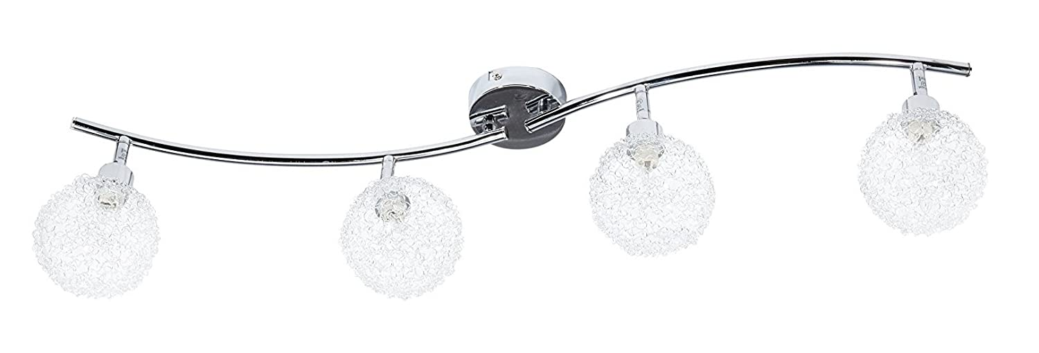 Trango Bathroom/Kitchen Hallway Lighting 4 Light Ceiling Light with 4 x G9 Light Bulbs TG1002 48CH [Energy Class C]