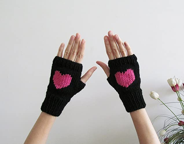 Amazon.com: Knit Fingerless Gloves in Black, Orchid Pink Embroidered ...