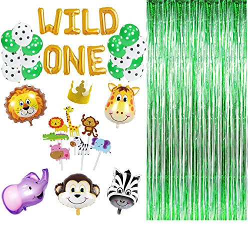 Maplelon Wild One First Birthday Party Decoration | Safari Zoo Jungle Themed 1st Bday Banner Kit
