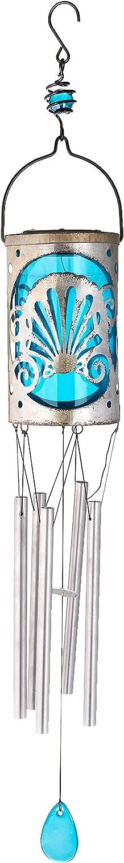 Regal Art & Gift 12129 Lantern Wind Chime-Shell Solar Décor, Pink