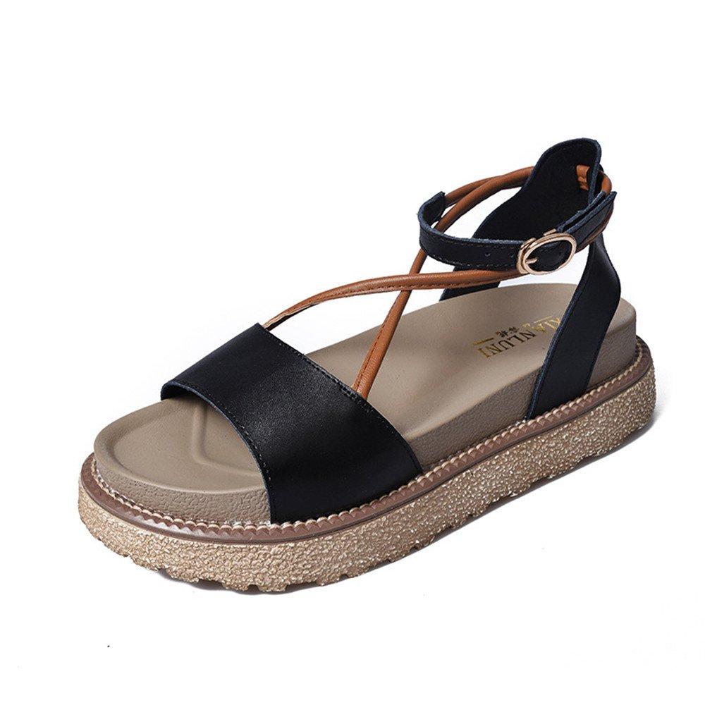 GSCshoe Noir, Leather Ladies Slippers Sandales B000LSXRV0 Simple (Couleur Sandales : Noir, Taille : 38) Noir 464f15a - reprogrammed.space