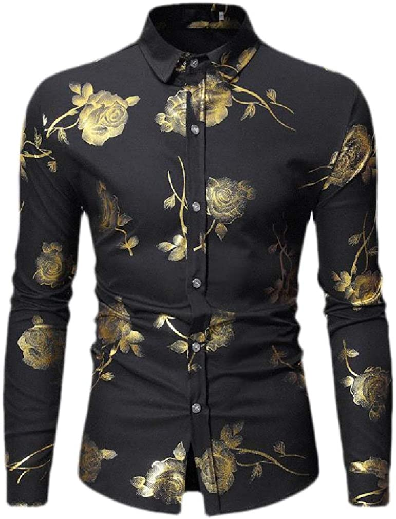 Wofupowga Men Lapel Neck Long Sleeve Print Metallic Button Down Shirts