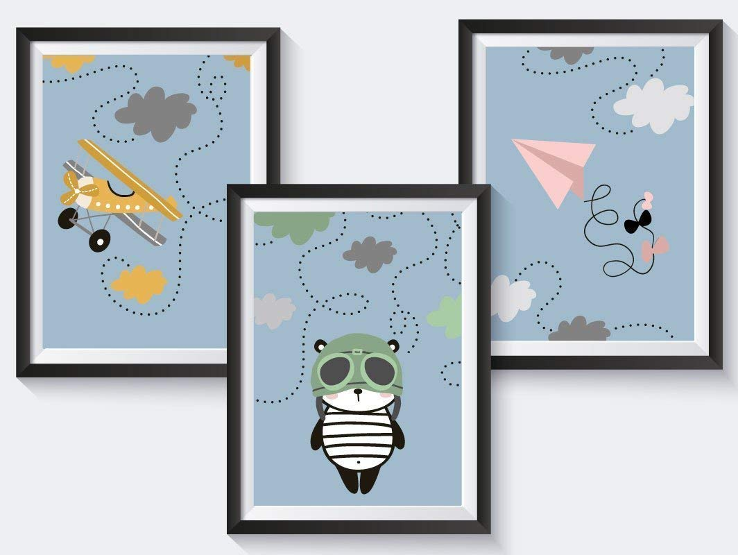 3er-Set Kinderzimmer Babyzimmer Poster Tiere | DIN A4 | optional mit Bilderrahmen | Mädchen Junge | Kinderposter Kunstdruck | bunt oder einfarbig in rosa, grün, senfgelb grün