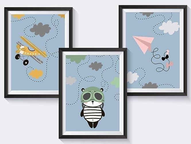 3er Set Kinderzimmer Babyzimmer Poster Tiere Din A4 Optional Mit