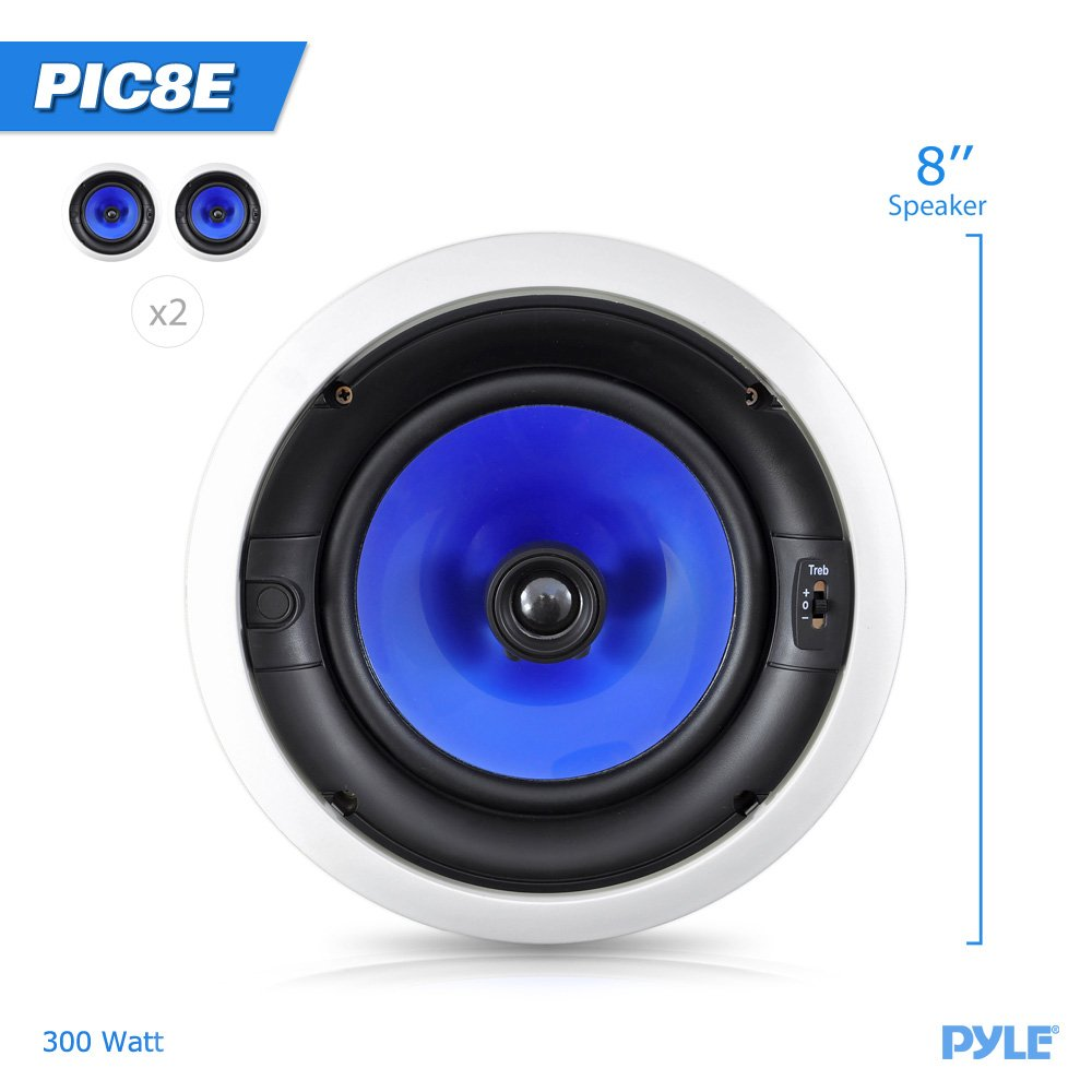 Pyle Home Pic8e 300 Watt High End 8 Inch Two Way In Details About 4 Channel Car Amplifier Wiring Kit8quot Speakerspyle Ceiling Speaker System With Adjustable Treble Control Pair Audio Theater