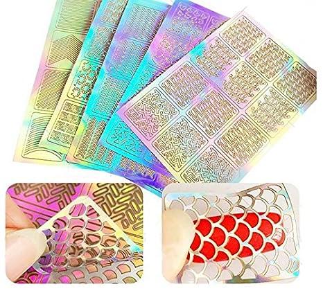 Facile da usare 5 Fogli Nail Vinyl Nail Stencil Nail Art Stickers Decorazione Nail Art per Nail Art Design (Colore : Golden, Dimensione : 13X9cm) ShireyStore