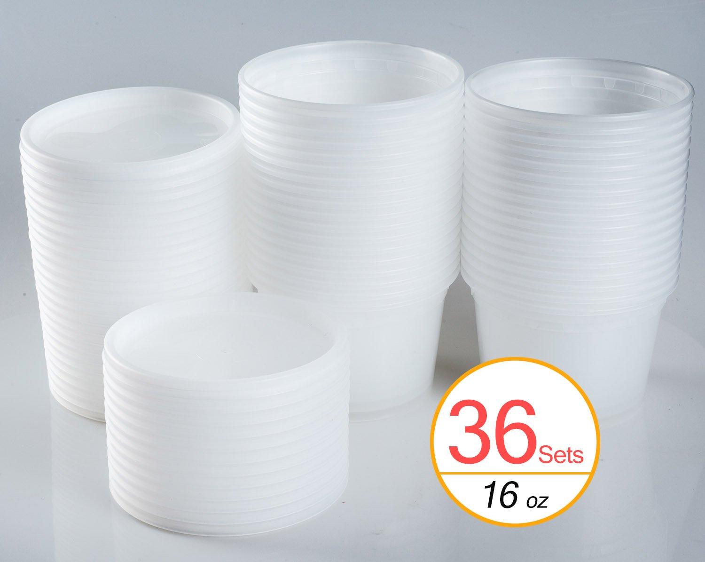 TashiBox 16 Ounce Plastic Lids, Food Storage Containers, 36 Sets, Translucent