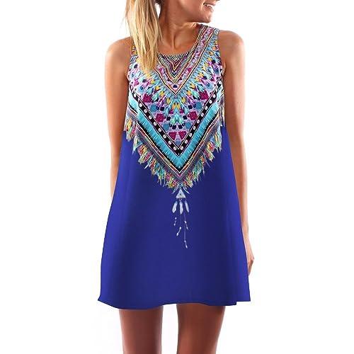 Vanberfia Women's Summer Sleeveless Printed Casual Mini Beach Floral Dress