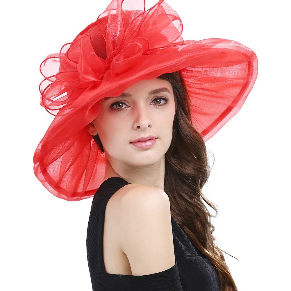 Janey&Rubbins Women's Fascinator Floral Bow Wedding Ascot Party Church Fancy Floppy Sun Hat