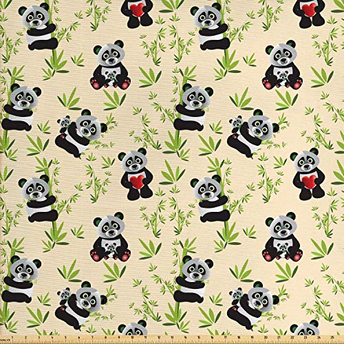 Lunarable Panda Fabric by The Yard, Big Asian Bamboo Eating Bear Chinese Cartoon Mother and Baby Wildlife, Decorative Fabric for Upholstery and Home Accents, 1 Yard, Ivory Apple Green Black