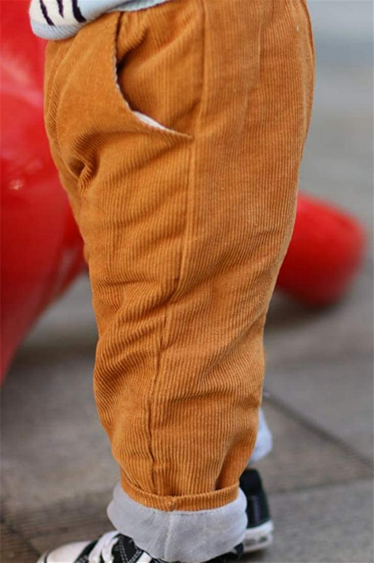 Hajotrawa Baby Boys//Girls Corduroy Trousers Relaxed Fit Thermal Fleece Pants