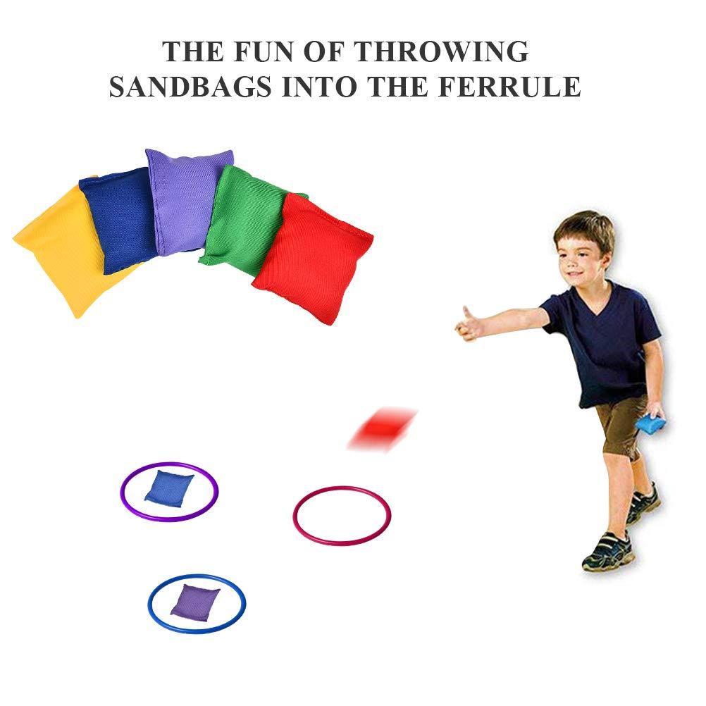 Bolsas de Frijoles Conos 3 en 1 Juego al Aire Libre para Ni/ños y Adultos BUYGOO Juegos de Lanzamiento de Anillos