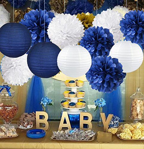 Royal Prince Baby Shower Decorations Tissue Pom Pom Flowers Paper Lanterns for Ahoy NauticalParty/Bridal Shower/Wedding/Graduation Decorations/Birthday Party Decorations ()