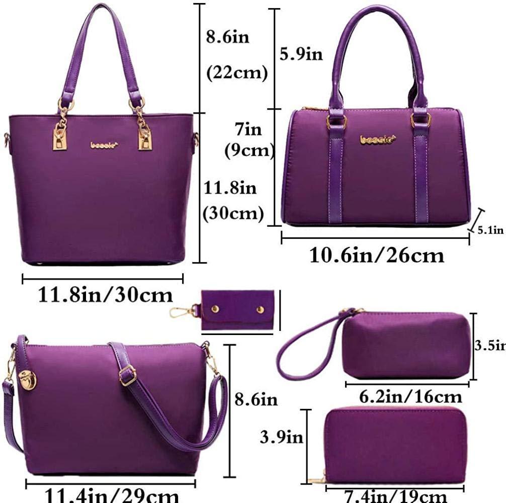 Regnkvinnor damer 6 st handväska set topp handtag väska väskor väskor väskor axelremsväskor och handväska kuvert, lila BLÅ