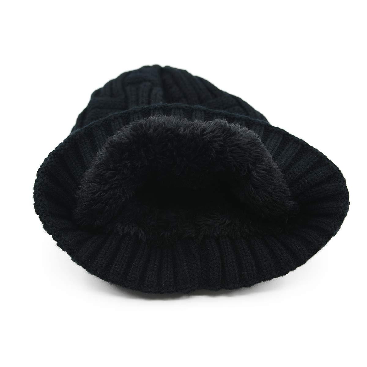 75fc890741e8e Amazon.com: American Trends Warm Chunky Beanie for Women & Men Wool  Knitting Hat Soft Baggy Slouchy Hats Skull Cap Classic Black: Clothing