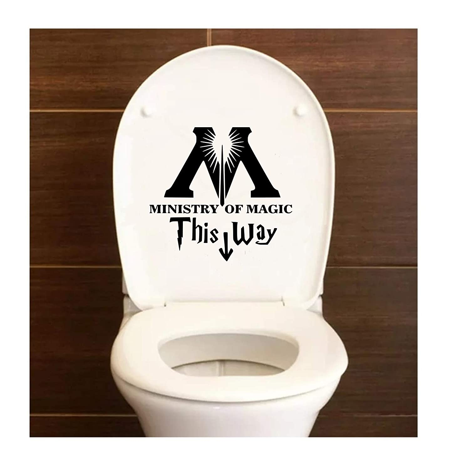 DD084 Ministry Of Magic This Way Harry Potter Inspired Decal Sticker | 7.5-Inches By 6.4-Inches | Premium Quality Black Vinyl