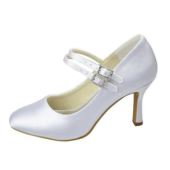 Kevin Fashion MZ1227 Ladies Mary Jane Ivory Satin Bridal Wedding Formal Party Evening Prom Pumps Shoes 7 UK viX7SucxZL