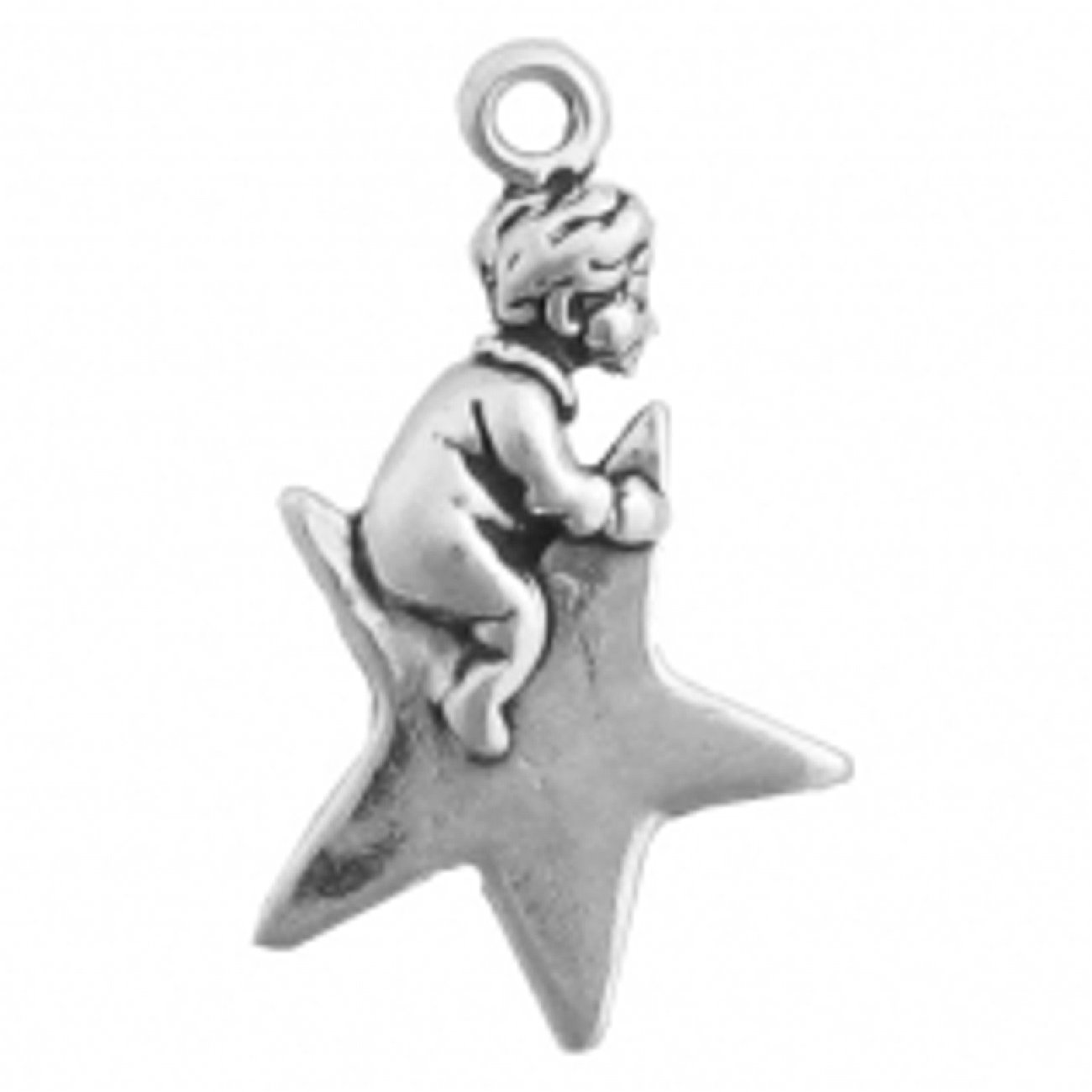 Sterling Silver Girls .8mm Box Chain 3D Little Boy Sitting On A Star Pendant Necklace
