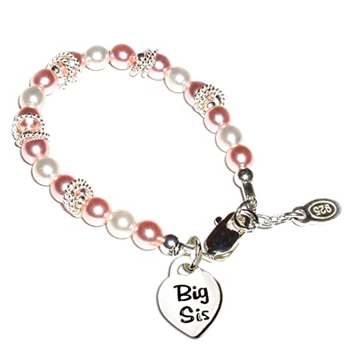 childrens sterling silverbig sis or lil sis bracelet with swarovski pink