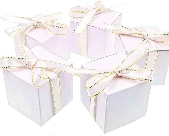 JZK 50 Blanco Caja Regalo Caramelos Cajas Dulces posición Tarjeta invitación Favor Cajas Papel para Boda cumpleaños Navidad Bautizo Baby Shower Fiesta: Amazon.es: Hogar
