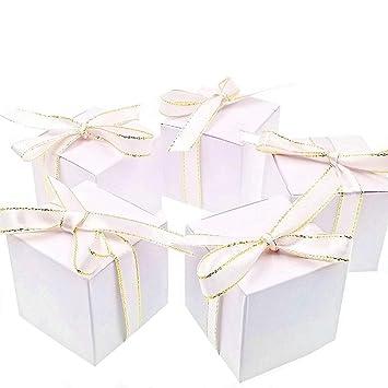 JZK 50 Blanco caja regalo caramelos cajas dulces posición tarjeta invitación favor cajas papel para boda cumpleaños navidad bautizo baby shower fiesta