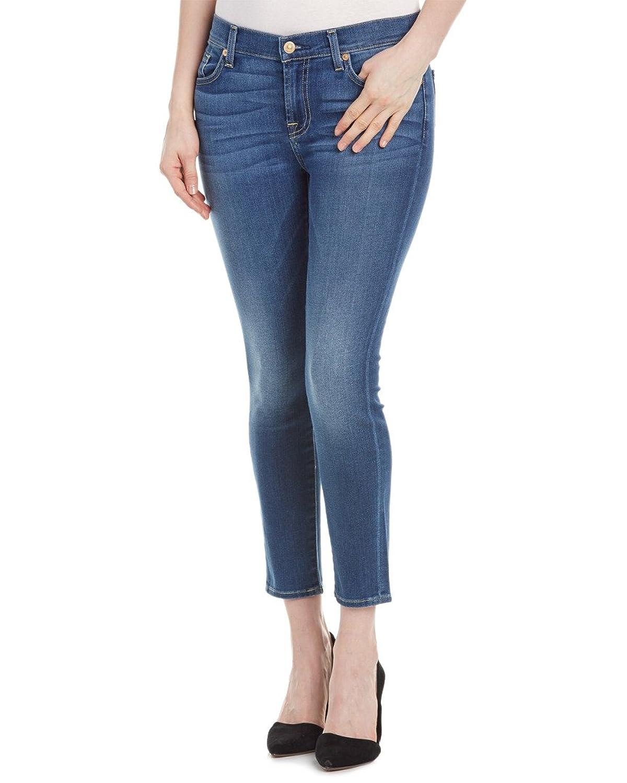 7 For All Mankind Gwenevere Cecelia Medium Blue Cropped Leg