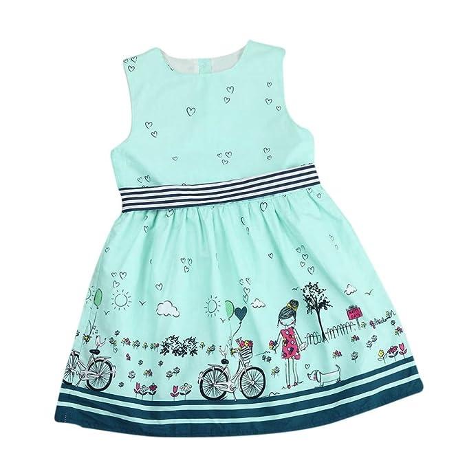 ❤️Elecenty Mädchen Prinzessin Kleid,Kinder Maxikleid Baby Abendkleid Kleider  Sommerkleid Drucken Ärmellos-Kleid 2bb7c975a4