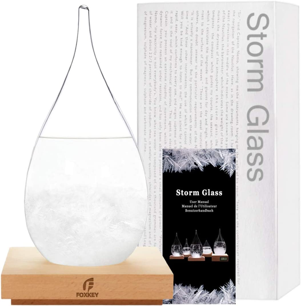 Transparent Waterdrop Storm Glass, Solid Wooden Base,Weather Predictor, Various Festivals Choice,Dazzling Decorations in Home or Office.