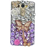 LG G3 Case, LG G3 Bling Case-Spritech(TM) 3D Handmade Colorful Diamond Bling with Butterfly Flower Decoration Decoration Hard Clear Case for LG G3 2014 Released