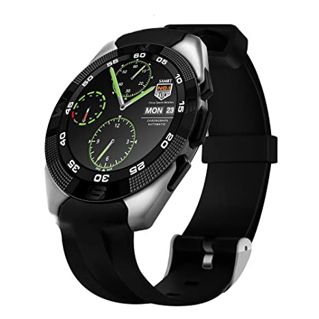 No.1 G5 MTK2502C 1.2 Inch Smart Watch Bluetooth 4.0 Heart Rate Monitor Smartwatch fit IOS Android (Silver)