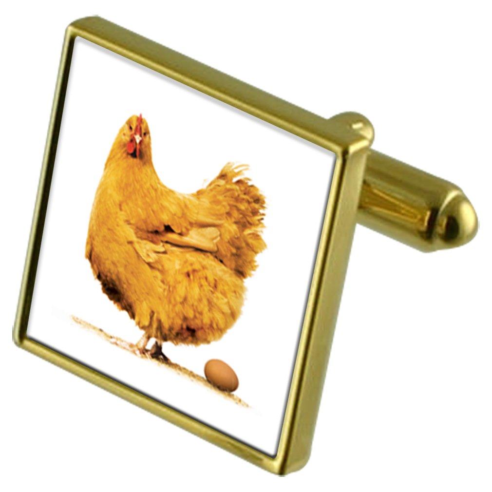 Huevo de gallina Tono Oro Gemelos Crystal Gift Set Clip de Corbata ...