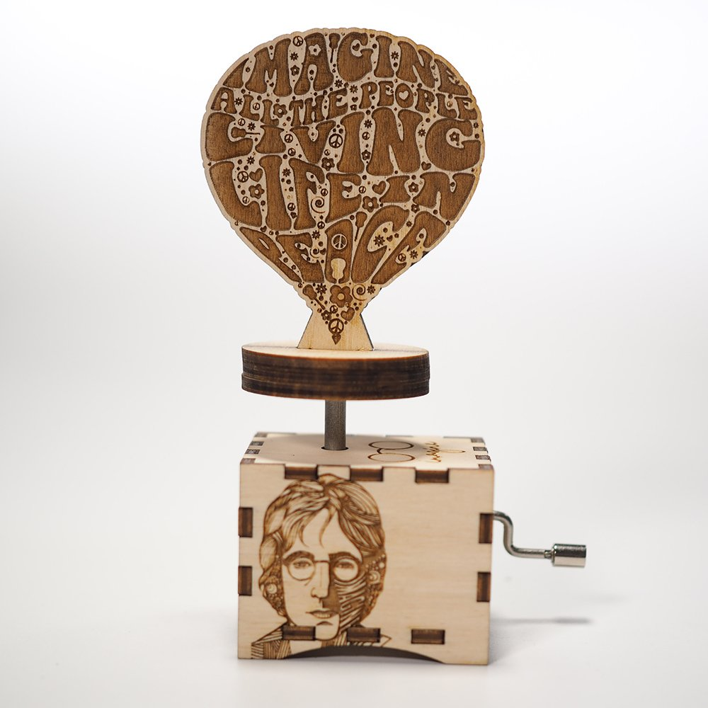 John Lennon - Imagine/Laser cut and laser engraved wood music box. Perfect gift, memorabilia or collectible