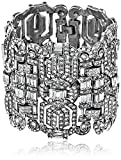 Ben-Amun Jewelry Swarovski Crystal Silver-Plated Deco Bracelet