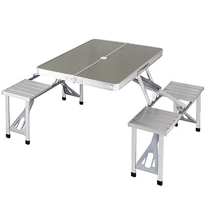 Amazon giantex aluminum folding picnic table portable indoor giantex aluminum folding picnic table portable indoor outdoor suitcase camping table with 4 seats bench watchthetrailerfo