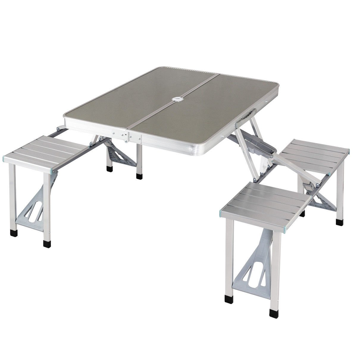 FDInspiration Silver Multi Function Outdoor Aluminum Camping Table Picnic Folding Carry Case w/4 Connected Seats