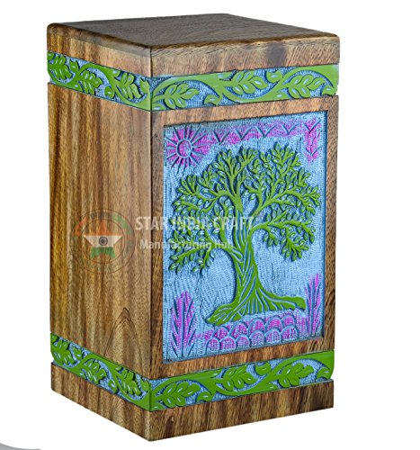 STAR INDIA CRAFT Rosewood Cremation Urn for Human Ashes, Wooden Funeral Urns Box for Pets, Burial Urn for Dogs,Cats (Green on Blue, Medium - 150 lbs)
