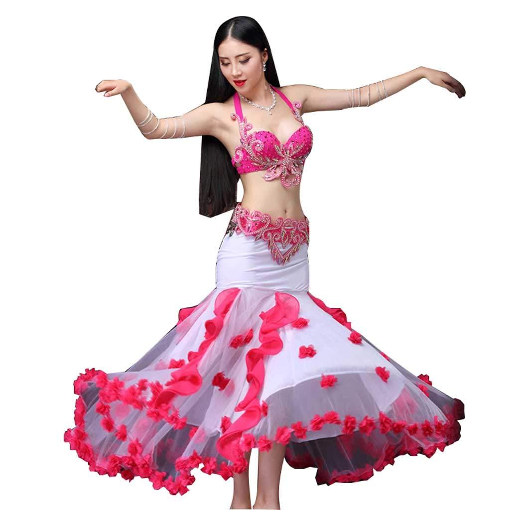 女性のモダンベリーダンスパフォーマンスコスチューム、手作りビーズブラセット B07J3G1N5R  Hot pink M