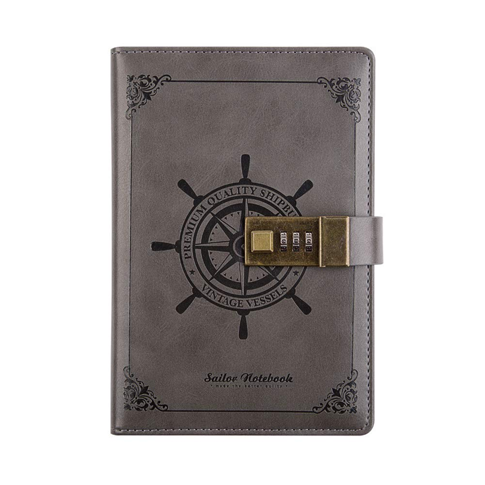 Vintage Refillable Notebook - Leather Journal Blank Diary Note Book with Password Code Lock, Girls & Boys Brithday Gift, 5.5''×7.8''