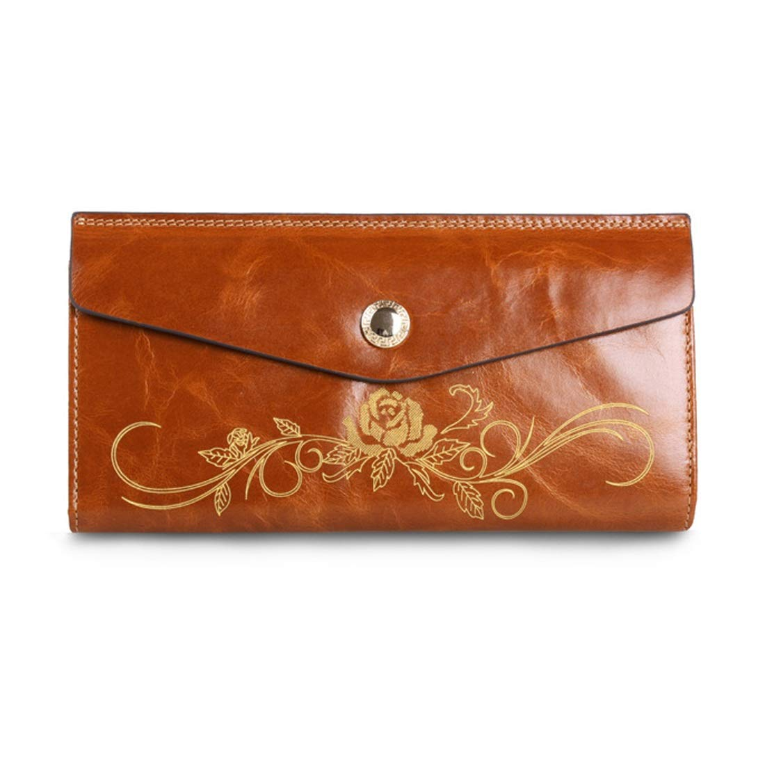 Professional Bag Long Wallet Coin Purse Men's Ladies fold Wallet Purse Women's Luxury Leather Real Leather. Outdoor Travel Essentials (color   Brass)