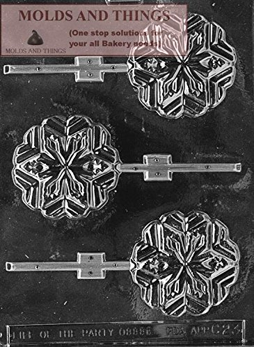 SNOWFLAKE LOLLY Chocolate Candy Mold, Christmas Chocolate Candy Mold With Copyrighted Chocolate Molding Instructions