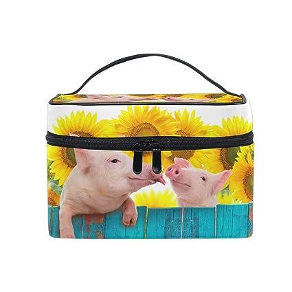 Bolsa de Maquillaje de Viaje Animal Divertido Cerdo Girasol ...
