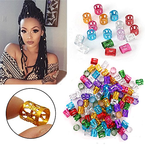 HairPhocas 100Pcs Braid Dreadlock Beads Micro Rings Braid Hair Accessories Hair Braids Cuff Clip Mixed Colors