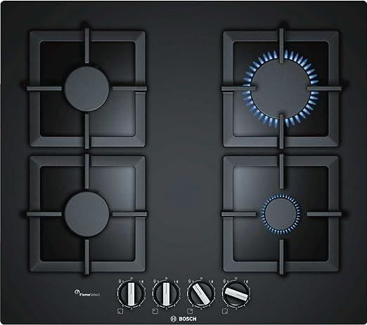 Bosch Serie 6 PPP6A6B20 hobs Negro Integrado Encimera de gas - Placa (Negro, Integrado, Encimera de gas, Vidrio, 1000 W, 1750 W)