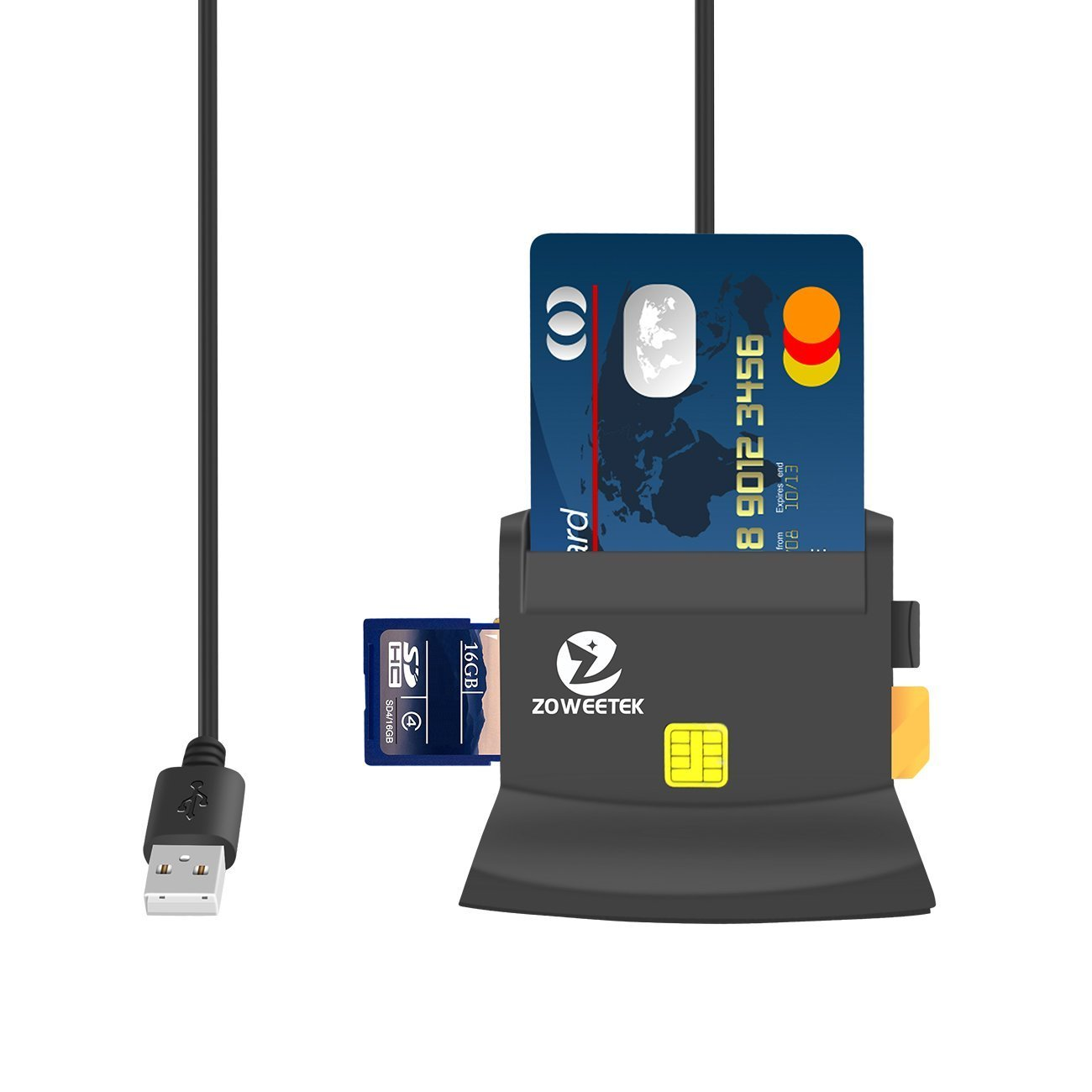 Zoweetek Smart Card Reader for National ID card, SD Card Reader for SDXC, SDHC, SD, MMC, RS-MMC, Micro SDXC, Micro SD, Micro SDHC Card, Compatible with Mac OS and Windows