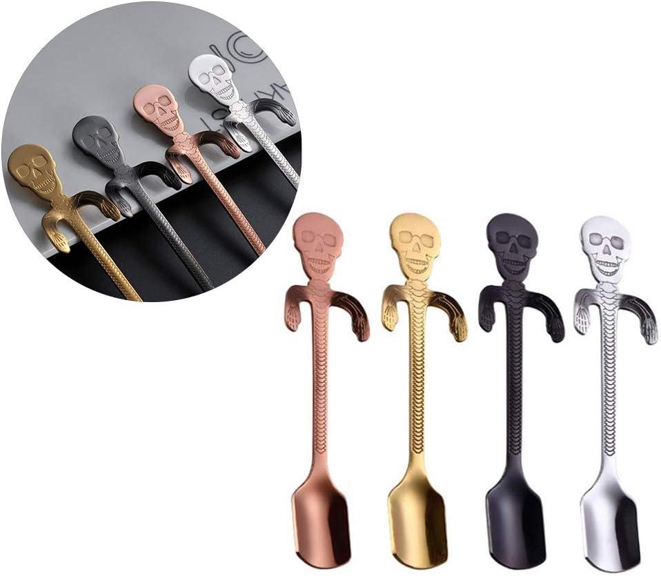Koowaa 4PCS Tea Coffee Stirring Spoon Skeleton Head Spoons Stainless Steel Spoons Skeleton Hanging Teaspoons Halloween Funny Small Gift