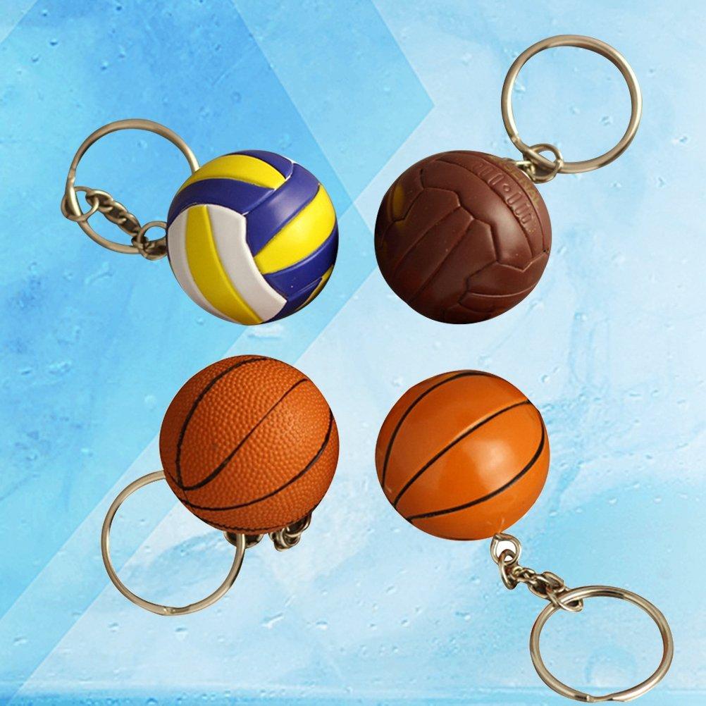 Couleurs M/élang/ées Yeahibaby 4 Pcs 4CM Stimul/é Basket-Ball Porte-Cl/és Sport Porte-Cl/és Souvenir Voiture Pendaison D/écoration Cadeau de Vacances