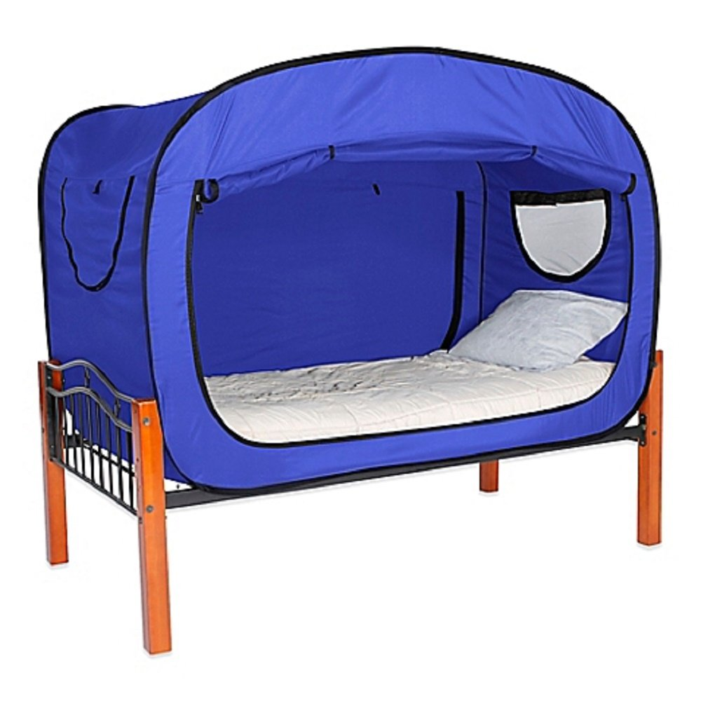Privacy Pop Full 55'' W x 78'' L x 53'' H Bed Tent in Blue Provides a Convenient and Easy way to Enjoy privacy in shared Bedrooms, Open Sleeping Areas, Multi-Occupancy Dorm Rooms