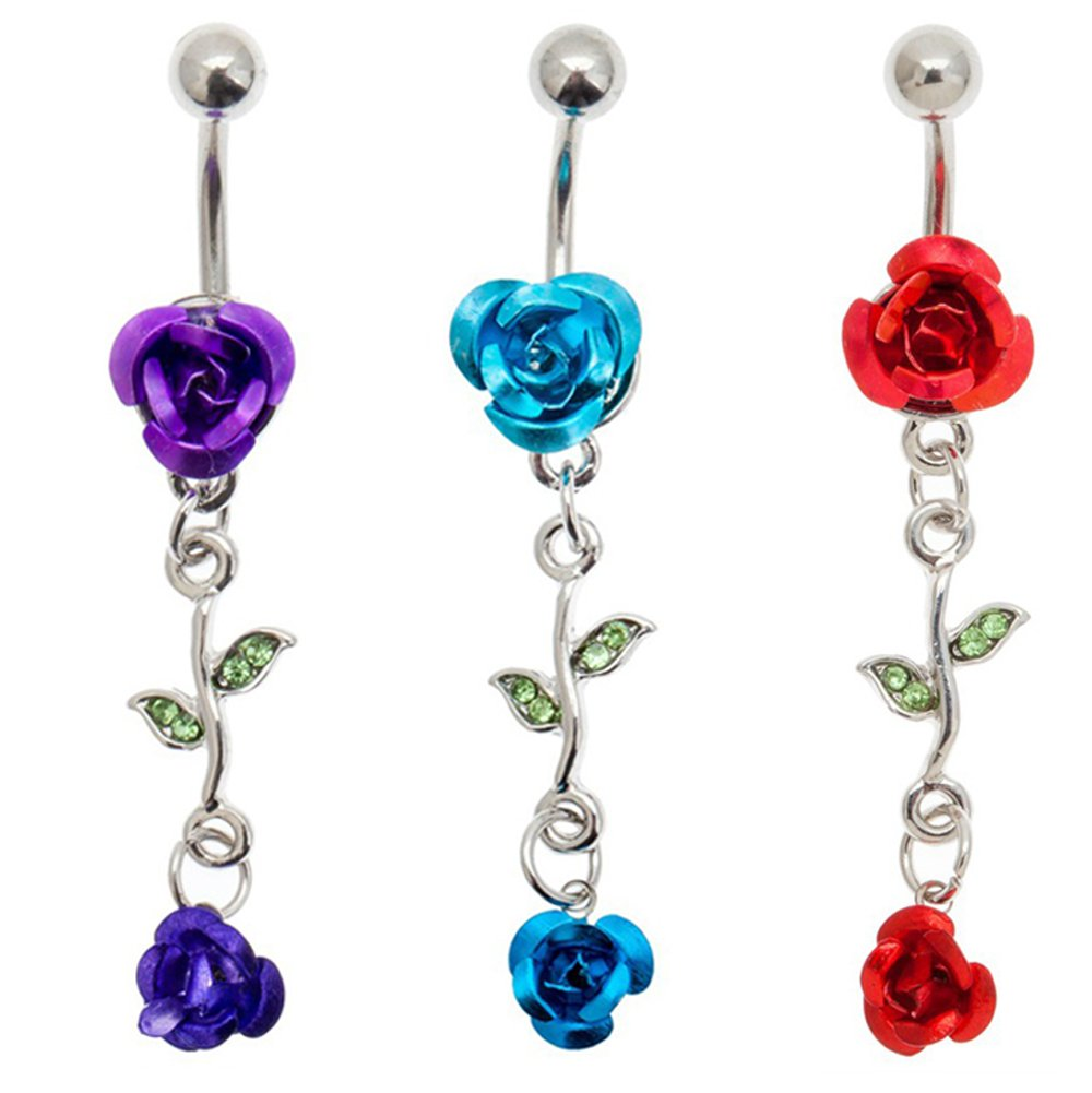 Stylish Set of 3 Silver Coloured 316L Surgical Steel 14 Gauge Belly Rings Navels Buttons Piercings Bellybuttons Bananabells Barbells With Rhinestones Crystals And Different Pendants VAGA 646437932394